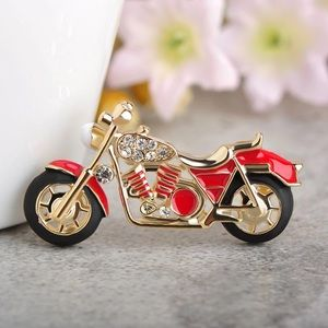 Jewelry - Crystals Red Enamel Motorcycle Brooch